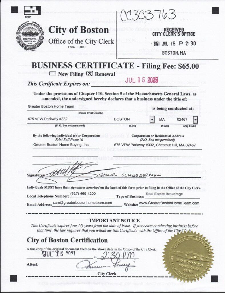 Greater Boston Home Team DBA Certificate